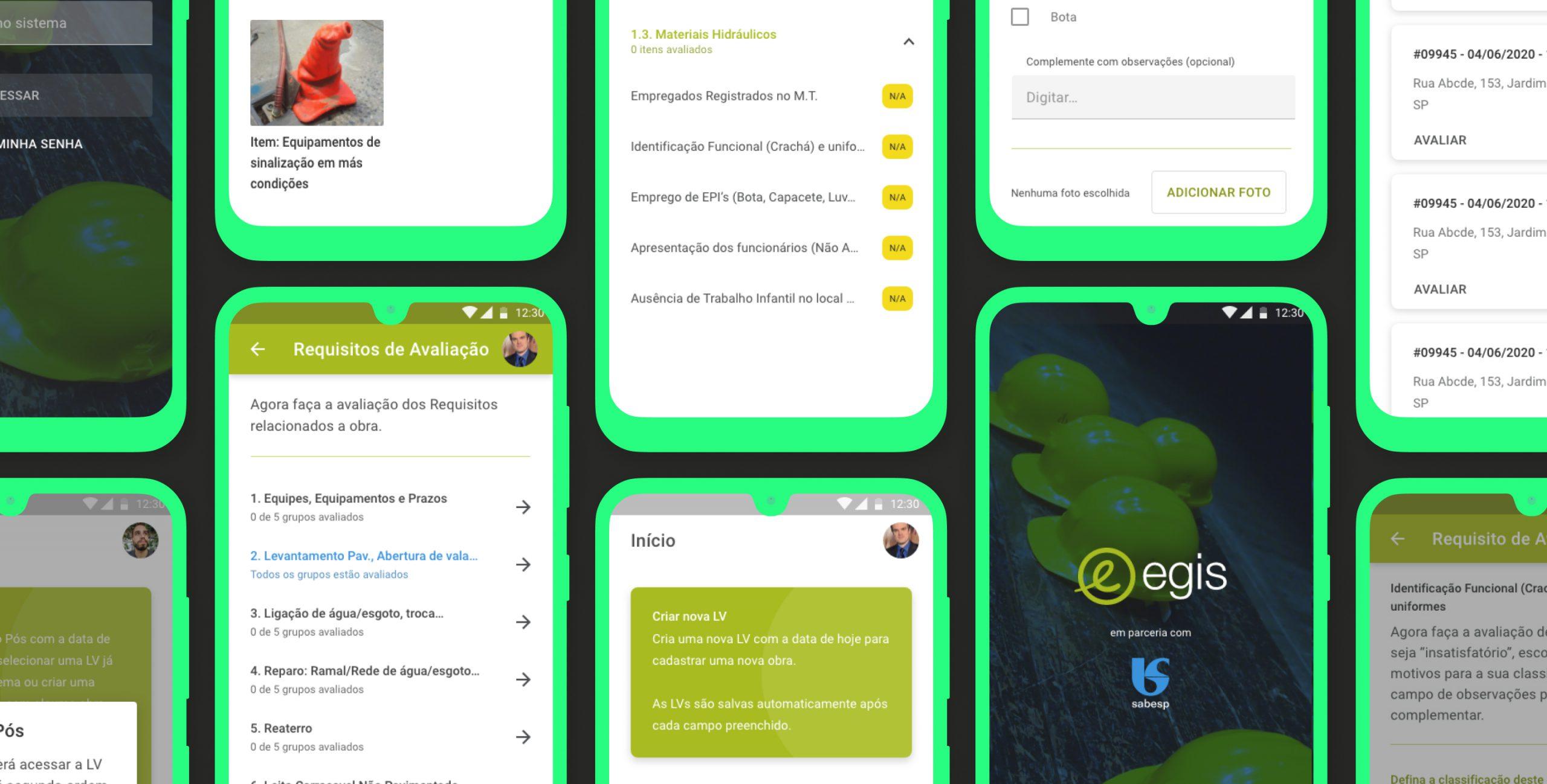 arte com mockups do aplicativo Android da Egis Brasil.