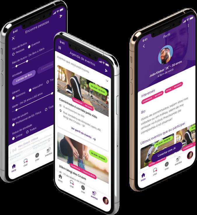 arte com 3 celulares com o design do app conectasports